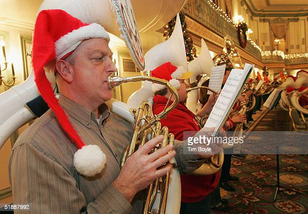 Rob Bass plays in Merry TubaChristmas December 22 2004 in Chicago Illinois About 400 tuba players performed Merry TubaChristmas A Concert of...