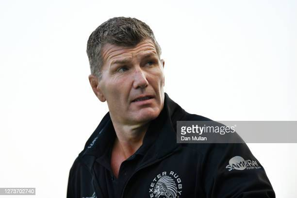 Rob Baxter Exeter Chiefs' Director of Rugby looks on prior to the Heineken Champions Cup Quarter Final match between Exeter Chiefs and Northampton...
