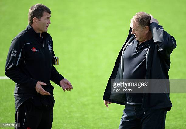 Rob Baxter head coach of Exeter Chiefs speaks to Dean Richards Director of Rugby at Newcastle Falcons ahead of the Aviva Premiership match between...