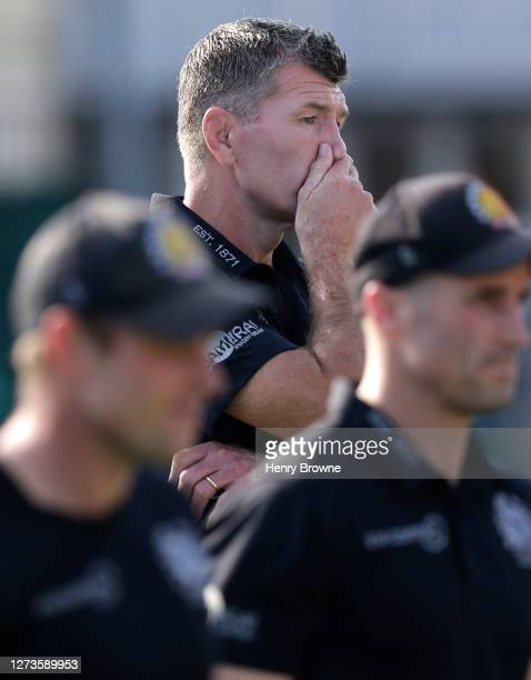 Rob Baxter of Exeter Chiefs before the Gallagher Premiership Rugby match between Saracens and Exeter Chiefs at Allianz Park on September 13 2020 in...