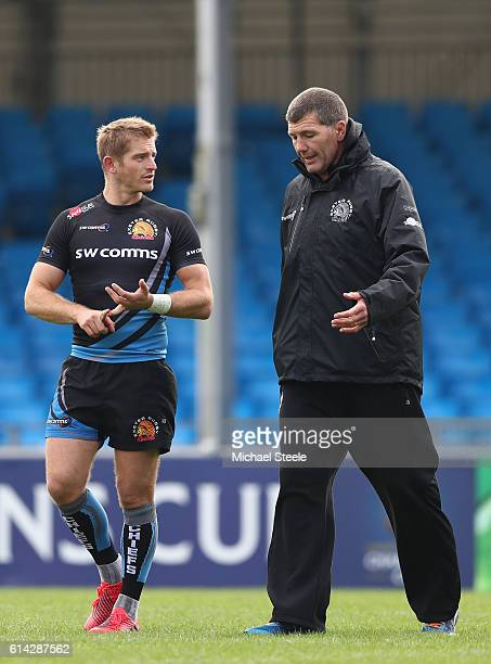 Rob Baxter the Director of Rugby alongside Gareth Steenson during the Exeter Chiefs training session at Sandy Park on October 13, 2016 in Exeter,...