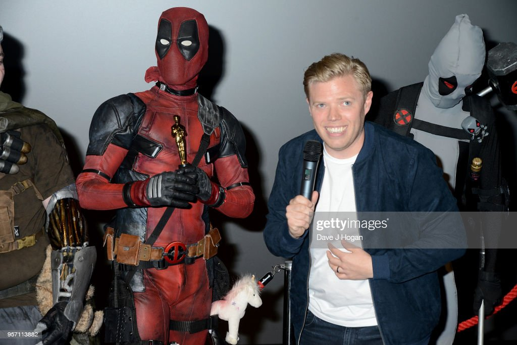 Rob Beckett (R) attends the 'Deadpool 2' fan screening at Cineworld Leicester Square on May 10, 2018 in London, England.
