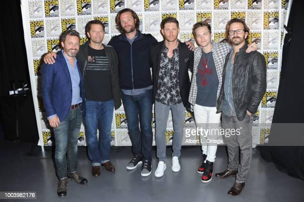 Rob Benedict Misha Collins Jared Padalecki Jensen Ackles Alexander Calvert and Richard Speight Jr attend the Supernatural press line during ComicCon...