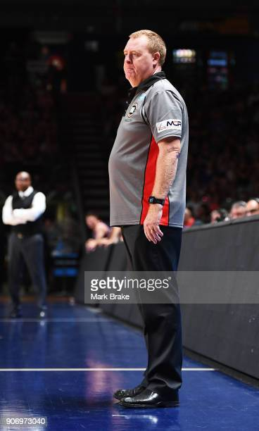 Rob Beveridge coach of the Illawarra Hawkes during the round 15 NBL match between the Adelaide 36ers and the Illawarra Hawks at Titanium Security...