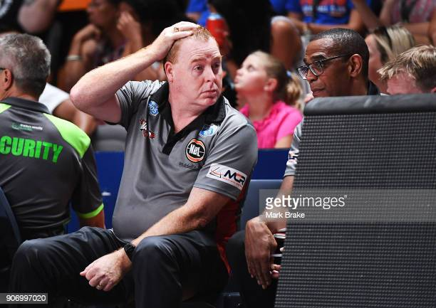 Rob Beveridge coach of the Illawarra Hawks during the round 15 NBL match between the Adelaide 36ers and the Illawarra Hawks at Titanium Security...