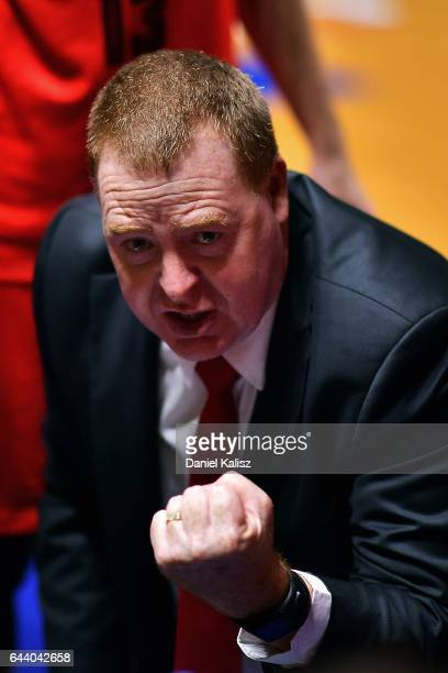 Rob Beveridge head coach of the Illawarra Hawks reacts during a time out period during game three of the NBL Semi Final series between the Adelaide...