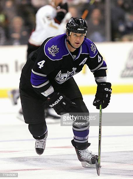 Rob Blake of the Los Angeles Kings skates through center ice against the Anaheim Ducks during their preseason NHL game at the Staples Center on...