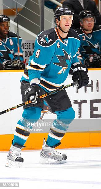 Rob Blake of the San Jose Sharks waits for the action during an NHL game against the Anaheim Ducks on October 9 2008 at HP Pavilion at San Jose in...