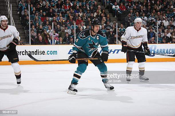 Rob Blake of the San Jose Sharks waits for the faceoff during an NHL game against the Anaheim Ducks on December 26, 2009 at HP Pavilion at San Jose...