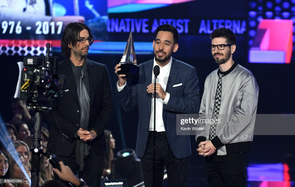 Rob Bourdon, Mike Shinoda, and Brad Delson of music group Linkin Park accept the Favorite Artist - Alternative Rock award onstage during the 2017 American Music Awards at Microsoft Theater on November 19, 2017 in Los Angeles, California.