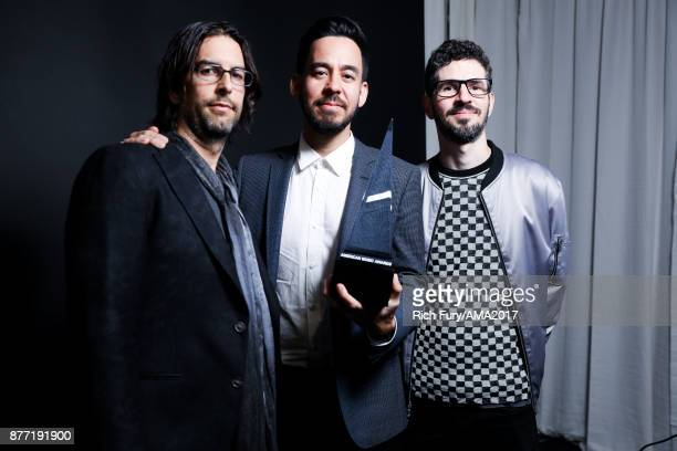 Rob Bourdon Mike Shinoda and Brad Delson of music group Linkin Park pose for a portrait during the 2017 American Music Awards at Microsoft Theater...