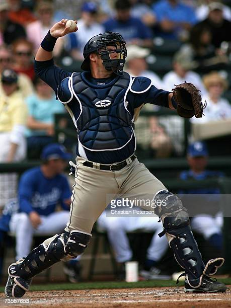 Rob Bowen of the San Diego Padres in action against the Kansas City Royals during the MLB spring training game at Surprise Stadium on March 5 2007 in...