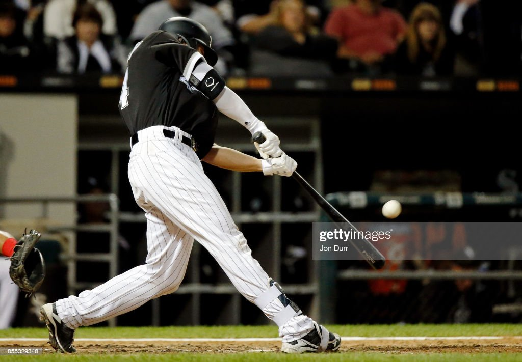 Rob Brantly #44 of the Chicago White Sox hits a two run home run against the Los Angeles Angels of Anaheim during the eighth inning at Guaranteed Rate Field on September 28, 2017 in Chicago, Illinois. The Chicago White Sox won 5-4.
