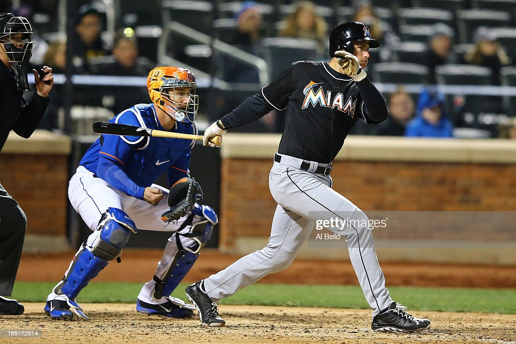 Rob Brantly #19 of the Miami Marlins doubles in a run against the New York Mets in the seventh inning during their game on April 5, 2013 at Citi Field in the Flushing neighborhood of the Queens borough of New York City.