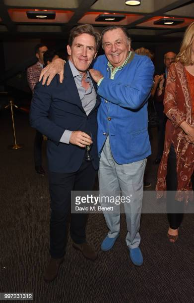 Rob Brydon and Barry Humphries attend the press night performance of 'Barry Humphries' Weimar Cabaret' at The Barbican Centre on July 12 2018 in...