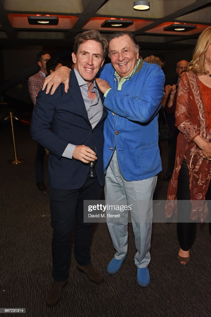 Rob Brydon (L) and Barry Humphries attend the press night performance of 'Barry Humphries' Weimar Cabaret' at The Barbican Centre on July 12, 2018 in London, England.