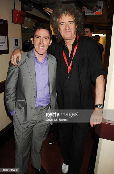 Rob Brydon and Brian May attend The Prince's Trust Rock Gala 2010 supported by Novae at The Royal Albert Hall on November 17, 2010 in London, England.