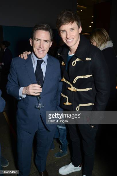 Rob Brydon and Eddie Redmayne attend the 'Early Man' World Premiere after party held at Skylon on January 14 2018 in London England