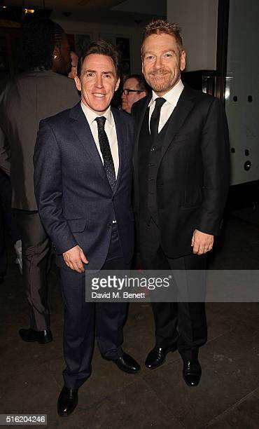 Rob Brydon and Kenneth Branagh attend the press night after party for the Kenneth Branagh Theatre Company's production of 'The Painkiller' at Garrick...