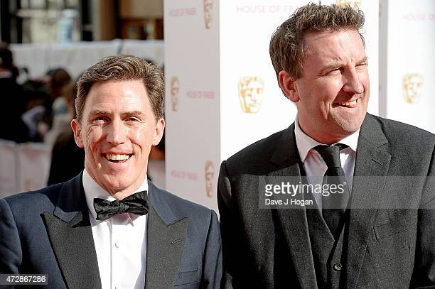Rob Brydon and Lee Mack attend the House of Fraser British Academy Television Awards at Theatre Royal on May 10 2015 in London England