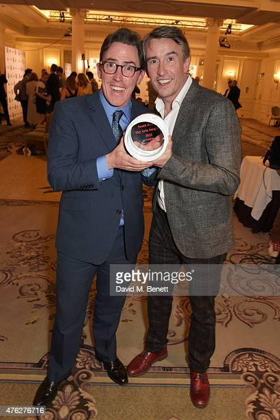 Rob Brydon and Steve Coogan winners of the Comedy award for 'The Trip To Italy' attends the South Bank Sky Arts awards at The Savoy Hotel on June 7...