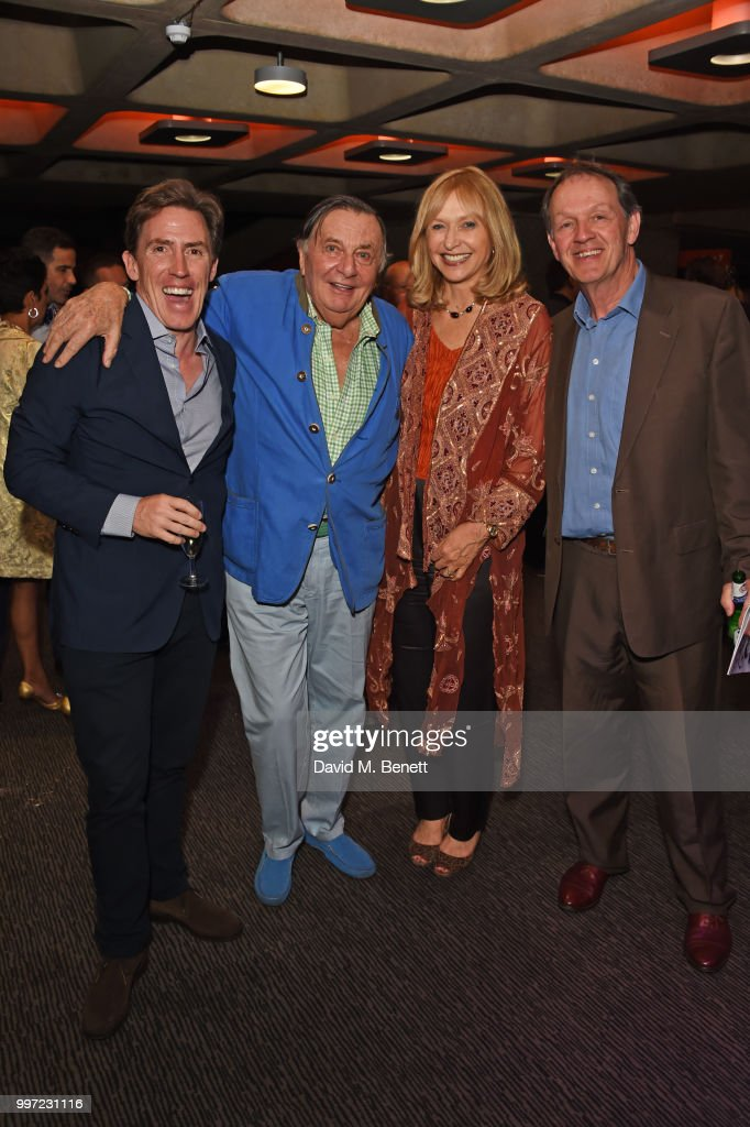 Rob Brydon, Barry Humphries, Lizzie Spender and Kevin Whately attend the press night performance of 'Barry Humphries' Weimar Cabaret' at The Barbican Centre on July 12, 2018 in London, England.