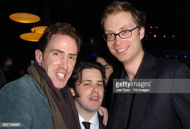 Rob Brydon Edgar Wright and Stephen Merchant at the Hot Fuzz premiere after party in central London