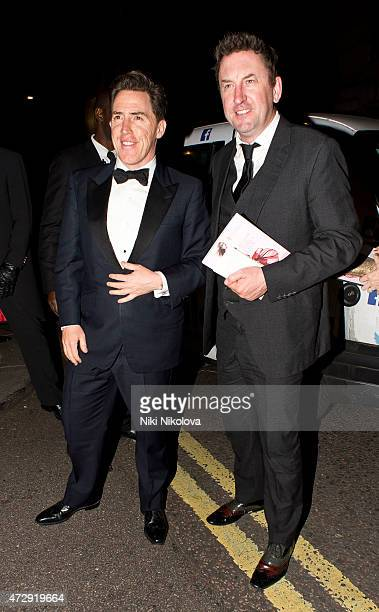Rob Brydon Lee Mack are seen arriving at the Grosvenor hotel Park Lane on May 10 2015 in London England