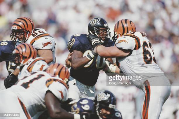 Rob Burnett Defensive End for the Baltimore Ravens is stopped by Joe Walter Tackle for the Cincinnati Bengals during the American Football Conference...