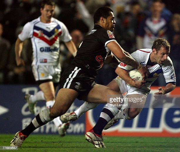 Rob Burrow of Great Britain scores a try during the Gillette Fusion Test Series round two match between Great Britain and New Zealand at The KC...