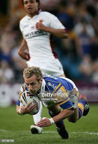 Rob Burrow of Leeds scores the second try during the Engage Super League match between Leeds Rhinos and Huddersfield Giants at Headingley on April...
