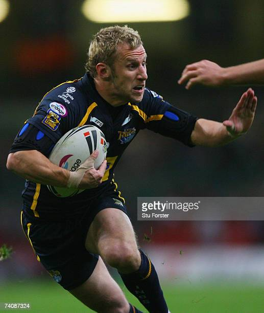 Rob Burrow of the Rhinos runs with the ball during the Engage Super League match between Bradford Bulls and Leeds Rhinos at the Millennium Stadium on...