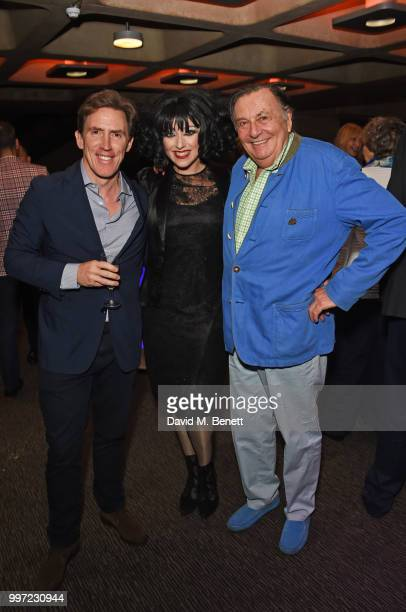 Rob Byrdon Meow Meow and Barry Humphries attend the press night performance of 'Barry Humphries' Weimar Cabaret' at The Barbican Centre on July 12...
