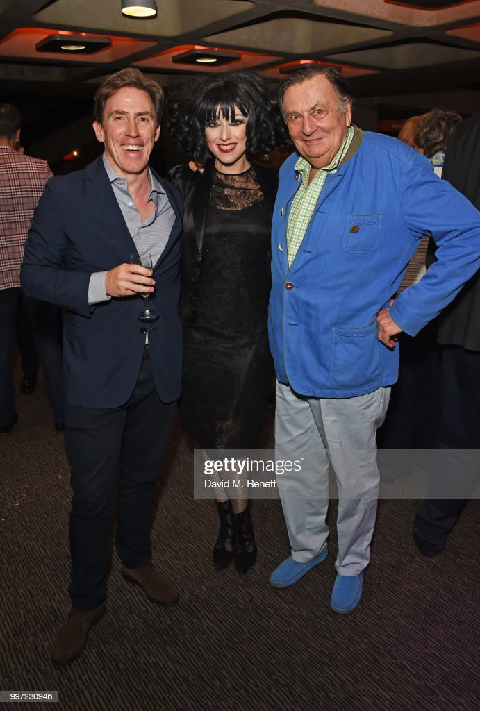 Rob Byrdon, Meow Meow and Barry Humphries attend the press night performance of 'Barry Humphries' Weimar Cabaret' at The Barbican Centre on July 12, 2018 in London, England.