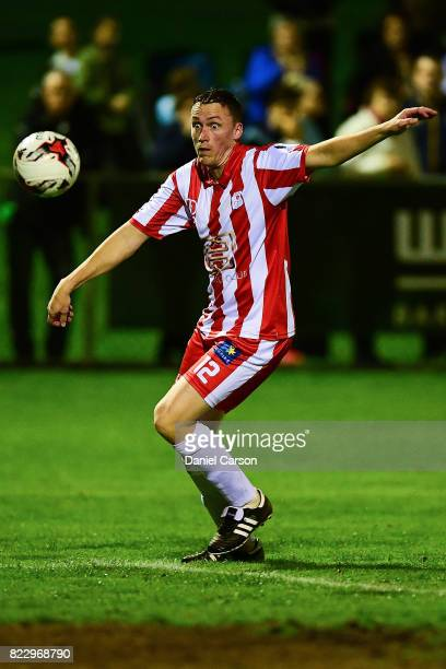 Rob Cattanach of Canberra Olympic FC gathers the ball deep in attack during the FFA Cup round of 32 match between Sorrento FC and Canberra Olympic at...