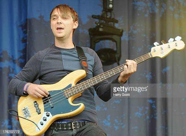Rob Clayton performs on stage on Day 3 of Fairport's Cropredy Convention at Cropredy on August 10 2013 in Banbury England