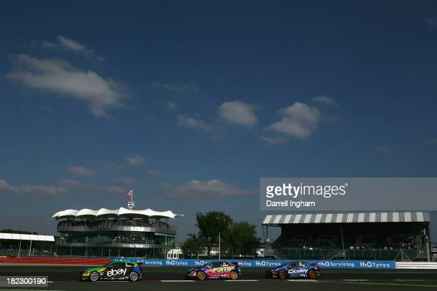 Rob Collard drives the eBay Motors BMW 125i M Sport ahead of Andrew Jordan and Adam Morgan during the Dunlop MSA British Touring Car Championship...