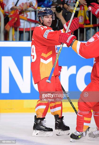 Rob Collins of the Duesseldorfer EG celebrates after scoring the 22 during the game between Duesseldorfer EG and Black Wings Linz on August 22 2015...