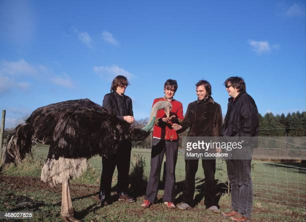 Rob Coombes, Danny Goffey, Gaz Coombes and Mickey Quinn of Supergrass, at Rockfield Studios in Wales during the recording of 'Life On Other Planets',...