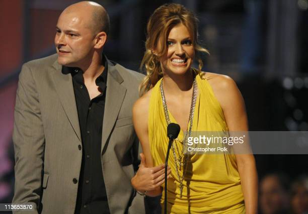 Rob Corddry and Tricia Helfer presenters during First Annual Spike TV's Guys Choice Show at Radford Studios in Los Angeles California United States