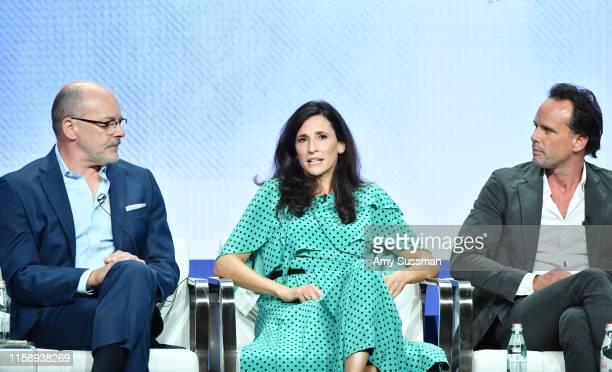 Rob Corddry Michaela Watkins and Walton Goggins of The Unicorn speak during the CBS segment of the 2019 Summer TCA Press Tour at The Beverly Hilton...