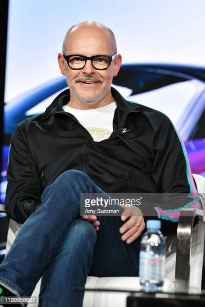 Rob Corddry of Top Gear America speaks during the Discovery MotorTrend segment of the 2020 Winter TCA Press Tour at The Langham Huntington Pasadena...