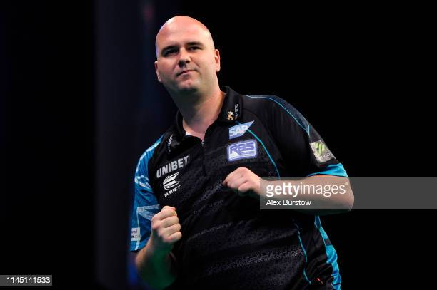 Rob Cross of England celebrates during his match against Gerwyn Price of Wales during the 2019 Unibet Premier League Darts at Arena Birmingham on...