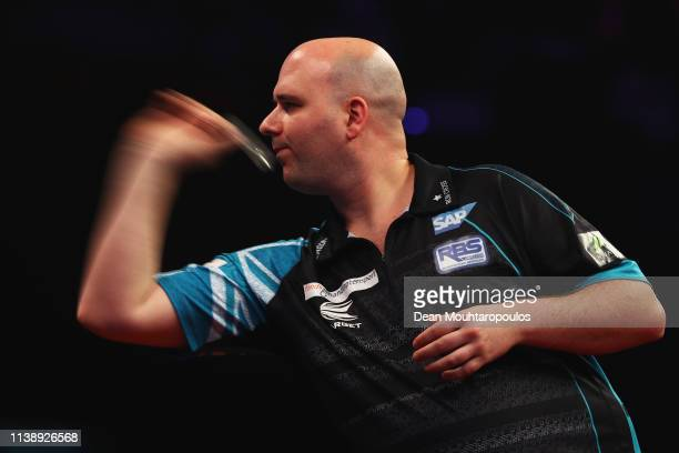 Rob Cross of England competes against Jeffrey de Zwaan of the Netherlands during day two of the 2019 Unibet Premier League Darts on March 28 2019 at...