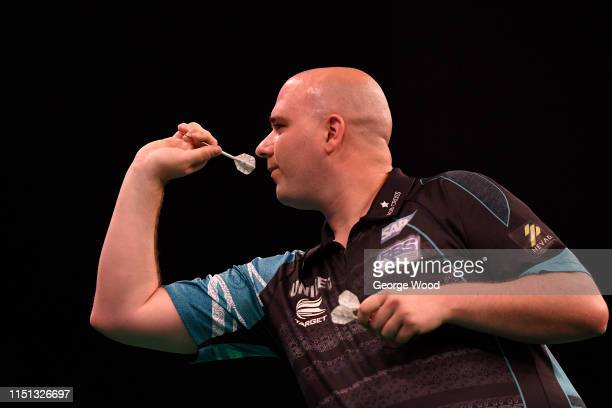 Rob Cross of England in action during the 2019 Unibet Premier League Darts at First Direct Arena on May 16 2019 in Leeds England