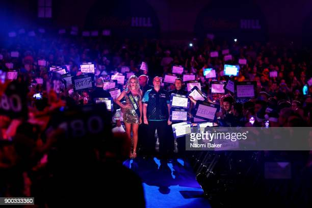 Rob Cross of England waits to walk onto the stage prior to the Final match against Phil Taylor of England on Day Fifteen at the 2018 William Hill PDC...
