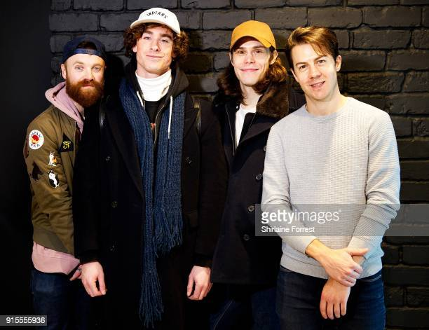 Rob Damiani Simon Delaney Matt Donnelly and Tom Doyle of Don Broco pose following an instore session for their new album 'Technology' at HMV...