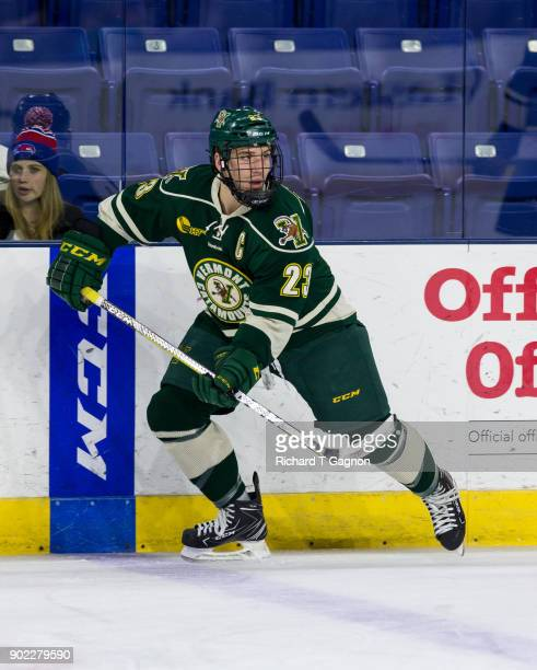 Rob Darrar of the Vermont Catamounts warms up before a game against the Massachusetts Lowell River Hawks during NCAA men's hockey at the Tsongas...