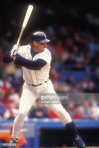 Rob Deer of the Detroit Tigers prepares for a pitch during a baseball game against the Oakland Athletics on May 10 1991 at Tigers Stadium in Detroit...