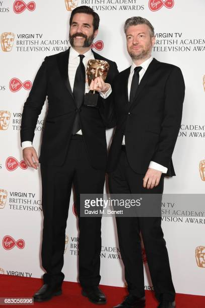 Rob Delaney and Charlie Brooker winner of the Comedy Entertainment Programme for 'Charlie Brooker's 2016 Wipe' pose in the Winner's room at the...